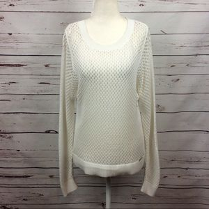 [Michael MK] Large Knit High-Low Sweater, White